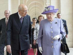 Giorgio Napolitano riceve la Regina Elisabetta II al Quirinale
